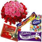 Divine Cadburys Chocs with Notes of Cream and 50 Pink and Red Roses