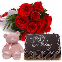 Finest Eggless Choco Cake with Red Roses Bouquet & Small Teddy