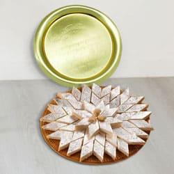 Lip-Smacking Kaju Katli from Haldiram with Golden Plated Thali