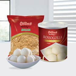 Haldiram Rasgulla with Bhujia from Haldiram
