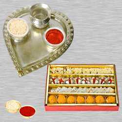 Haldiram Assorted Sweets N Thali with Roli Tilak and Chawal