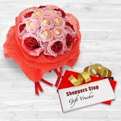 Remarkable Present of Gift Voucher from Shoppers Stop of Rs.1000, Red Roses N 8 Pc. Original Ferrero Rochers Bouquet