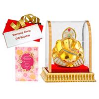 Delightful Gift of Vighnesh Idol, Anniversary Card and Mainland China Voucher