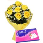Adorable Yellow Rose Hand Bunch and Cadbury Assortment Chocolates