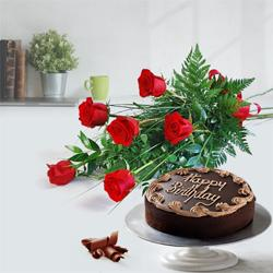 Expressive Red Roses Bouquet with Chocolate Cake