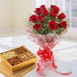 Enchanting Love Bouquet of 12 Red Roses and Dry Fruits
