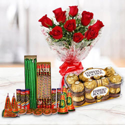 Marvelous Combo of 16 Pcs Ferrero Rocher, 10 Pcs Red Rose Bunch and Crackers