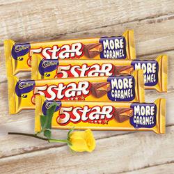 Cadburys 5 Star with One Yellow Rose