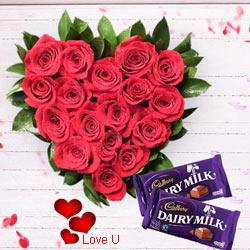 Red Roses in Heart Shape Arrangement with Cadbury Dairy Milk
