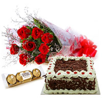 Royal Luxury Red Rose Bouquet, Cake and Ferrero Rocher Chocolates