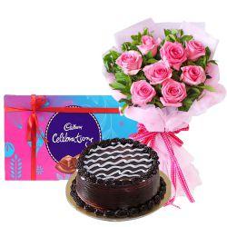 Bakery Fresh Cake with Pink Roses and Cadbury Celebration