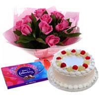 Pleasing Surprise Pink Rose Arrangement, Cake and Cadbury Celebration