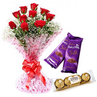 Lovely Treat of Red Rose Bouquet with Ferrero Rocher and Dairy Milk Silk