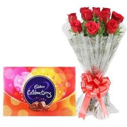 Spectacular Red Rose Bouquet and Cadbury Celebration