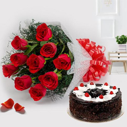 Exquisite 12 Red Roses with 1/2 Kg Black Forest Cake