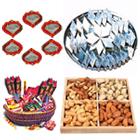 Big Hamper of Kaju Katli, Dry Fruits, Crackers and Diya