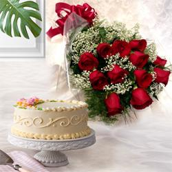 Exciting 12 Dutch Red Roses with 1 Kg Eggless Cake