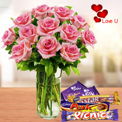Pink Roses in Vase with Chocolates