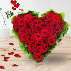 51 Exclusive Dutch Red Roses  in  Heart Shaped Arrangement