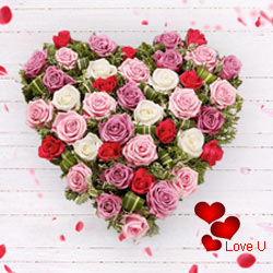 Multi Coloured Heart Shaped Arrangements