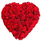 Designed Arrangement in Heart Shaped of 150 Dutch Roses in Red