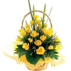 Tender Collection of Yellow Roses in a Basket