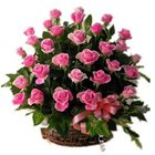 Romantic Assortment of Pink Roses in a Basket
