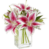 Pretty assemble of Pink Lilies in Glass Vase