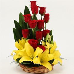 Seasonal Red Roses N Yellow Lilies Basket