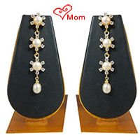 Amazing 3 Tier Hanging Pearl  N  AD Earrings