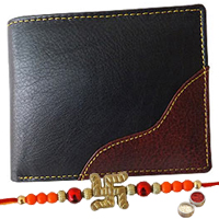 Rich Born's Riveting Gents Leather Wallet with 1 Free Rakhi, Roli Tilak and Chawal