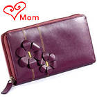 Dazzling Flowery Styled Genuine Leather Ladies Wallet in Purple