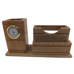 Classic Wooden Pen Stand and Clock Duo