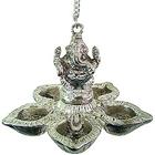Auspicious Ganesha with Designer Metallic Silver 5 pcs Hanging Diya Set
