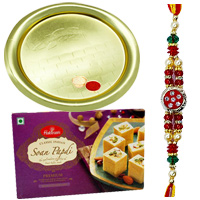 Feel-Better Gift of Outstanding Gold Plated Thali and Yummy Soan Papri of 100 Gms from <font color=#FF0000>Haldiram</font>s