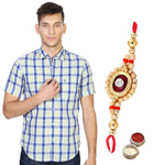 Classic Appeal Peter England Shirt and Rakhi Duo