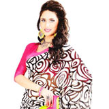 Gorgeous Black and White Georgette Satin Saree