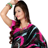 Super Attractive Black Coloured Georgette Printed Saree