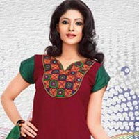 Exclusive Red and Maroon Shaded Cotton Printed Patiala Suit