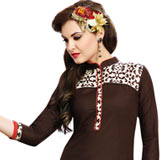 Trendsetting Printed Brown Cotton Women Suit