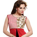 Mind-Blowing Designer Printed Red Cotton Suit
