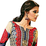 Designer Shobhas Black and Red Salwar Kameez of Cotton and Chiffon