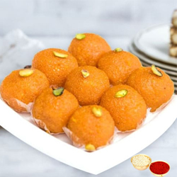 Motichur Ladoo  from Haldiram with free Roli Tilak and Chawal.