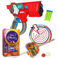 Mattels Cheerful Agility Dart Gun and Kids Rakhi, Cadbury Celebration Mini with Free Roli Tilak and Chawal