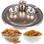 Silver Plated Thali with 200 Gms. Almonds and Resins