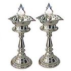 Puja Items - Silver Plated Lamp Set