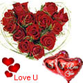 <u><font color=#008000> MidNight Delivery : </FONT></u>:Dutch Red Roses in Heart Shape Arrangement with 2 Heart Shape Balloons