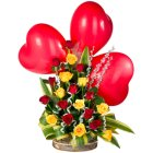 Send Red Heart Shaped Balloons N Roses Arrangement Online