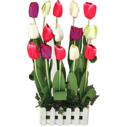 Fresh 15 Tulips Garden with Artificial Arrangement