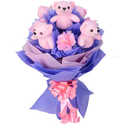 Stunning Bouquet of Art Carnations with Teddies all in Pink
